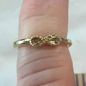 Gold Tone CZ Ribbon Childs Ring